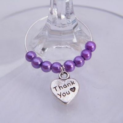 Thank You Wine Glass Charm - Beaded Style